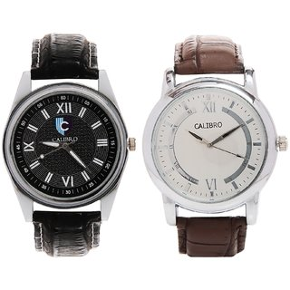 CALIBRO White-Black Men's  Black 001 Watch- PACK Of 2