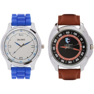 CALIBRO White-Blue Men's  Brown 003 Watch- PACK Of 2