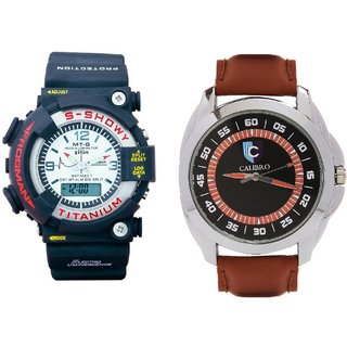 CALIBRO White mtg Round dial men's  Brown 003 Watch- PACK Of 2