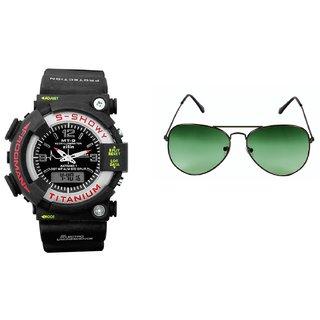 CALIBRO Black mtg Round dial men's watch  Green Aviator Sunglass