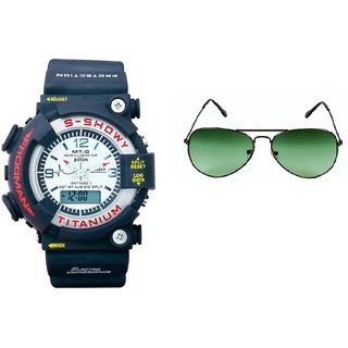 CALIBRO White mtg Round dial men's watch  Green Aviator Sunglass