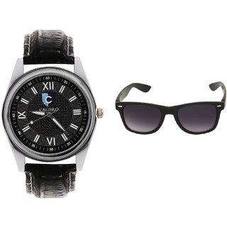 CALIBRO Men's Black watch  Black Wayfarer Sunglass