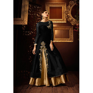 Thankar Black  Beige Embroidered Tapeta Silk Lehenga Suit