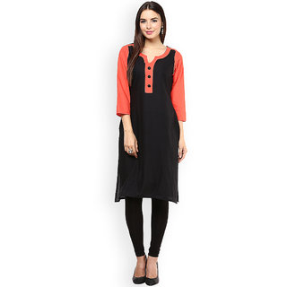 Shopeezo Daily Wear Black and Orange Color Cotton Kurti