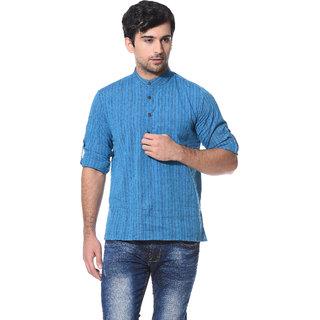 Abhiyuthan Self Design Blue Casual Short Kurta for Men