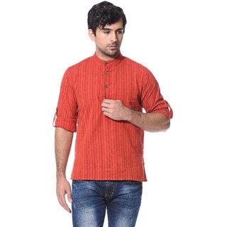 Abhiyuthan Self Design Red Casual Short Kurta for Men