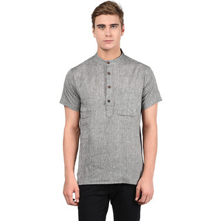 Abhiyuthan Plain Grey Casual Short Kurta for Men