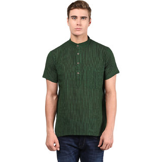 Abhiyuthan Striped Dark Green Casual Short Kurta for Men