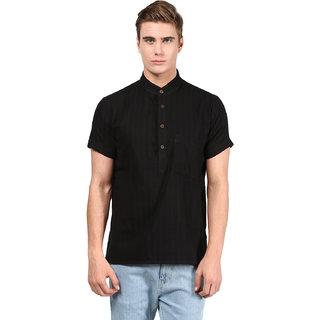 Abhiyuthan Self Design Black Casual Short Kurta for Men