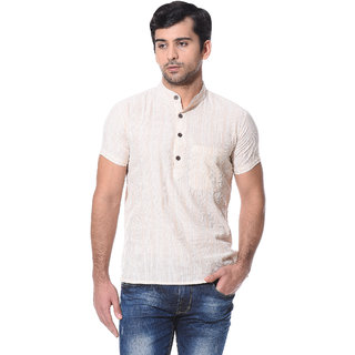 Abhiyuthan Striped Beige Casual Short Kurta for Men