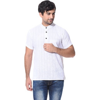 Abhiyuthan Dobby White Casual Short Kurta for Men