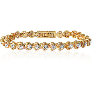 Mahi Gold Plated Crystal Tiny Hearts Single Strand Bracelet For Women Br110