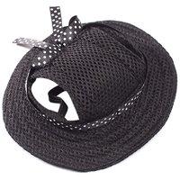 Magideal Pet Dog Cat Kitten Princess Mesh Strap Hat Cap Sunbonnet Size M - Black