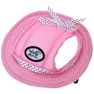 Magideal Pet Dog Cat Kitten Princess Mesh Strap Hat Cap Sunbonnet Size M - Pink