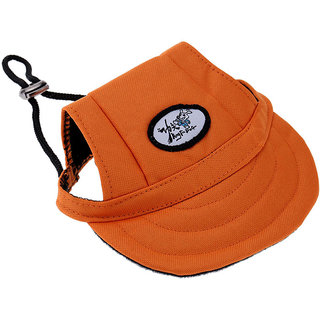 Magideal Pet Dog Cat Kitten Letter Baseball Hat Neck Strap Cap Sunbonnet M Orange