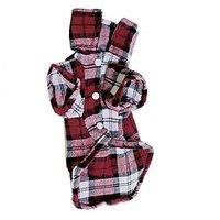 Magideal Pet Dog Red Plaid Pattern T-Shirt Lapel Coat Jacket Clothes Apparel Tops--S