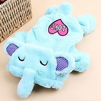 Magideal Pet Dog Sweater Puppy Velvet Hoodie Winter Jumpsuit Outwear Blue Elephant S