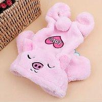 Magideal Pet Dog Sweater Puppy Velvet Hoodie Winter Jumpsuit Outwear Pink Elephant M