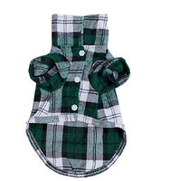 Magideal Pet Dog Green Plaid Pattern T-Shirt Lapel Coat Jacket Apparel Tops--Xs