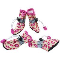 Magideal 4Pcs Pet Dog Cat Anti-Slip Waterproof Shoes Leopard Print Boots Yellow 2#