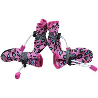 Magideal 4Pcs Pet Dog Cat Anti-Slip Waterproof Shoes Leopard Print Boots Rose Red 2#