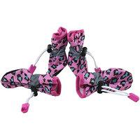 Magideal 4Pcs Pet Dog Cat Anti-Slip Waterproof Shoes Leopard Print Boots Rose Red 5#