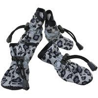 Magideal 4Pcs Pet Dog Cat Anti-Slip Waterproof Shoes Leopard Print Boots Black 3#