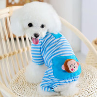 Magideal Pet Dog Cat Puppy Soft Striped Pajamas Jumpsuit Coat Clothes Apparel Blue Xl