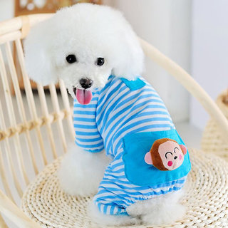 Magideal Pet Dog Cat Puppy Soft Striped Pajamas Jumpsuit Coat Clothes Apparel Blue S