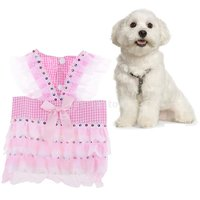 Magideal Dog Pet Puppy Grid Lace Bow Summer Skirt Jumpsuit Vest Dress Clothes Pink Xl