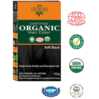 24 HERBS Certified Organic Hair Color - Soft Black Hair Color