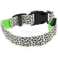 Magideal Leopard Led Collar Pet Dog Puppy Cat Light Night Flashing Safety Green M