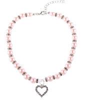 Magideal Pet Dog Cat Pearl Rhinestone Heart Pendant Nec - 99371726