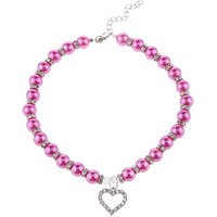 Magideal Pet Dog Cat Pearl Rhinestone Heart Pendant Necklace Collar Necktie Purple L