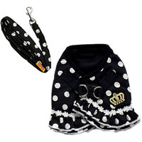 Magideal Pet Dog Dotted Cloth Harness Suit Puppy Mesh Collar Chest Strap Vest Black M