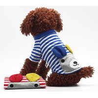 Magideal Pet Puppy Small Striped Dog Cat Vest T-Shirt Summer Apparel Clothes Blue M
