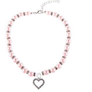 Magideal Pet Dog Cat Pearl Rhinestone Heart Pendant Necklace Collar Necktie Pink S