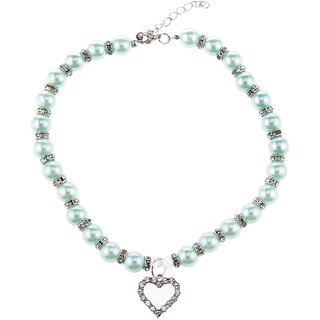 Magideal Pet Dog Cat Pearl Rhinestone Heart Pendant Necklace Collar Necktie Blue M