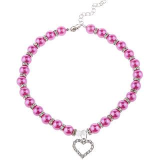 Magideal Pet Dog Cat Pearl Rhinestone Heart Pendant Necklace Collar Necktie Purple M