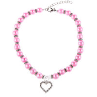 Magideal Pet Dog Cat Pearl Rhinestone Heart Pendant Necklace Collar Necktie Rosy M