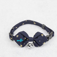 Magideal Pet Dog Cat Tie Collar With Footprint Pointed Bowknot Bell Decor-Dark Blue
