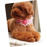 Magideal Pet Dog Cat Puppy Rose Pearls Decor Necklace L - 99372123