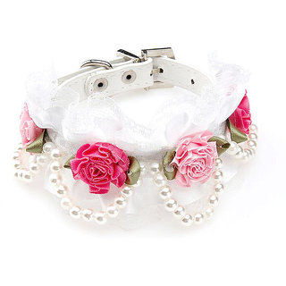 Magideal Pet Dog Cat Puppy Imitation Pearls Necklace Flower Lace Collar Belt White S