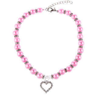 Magideal Pet Dog Cat Pearl Rhinestone Heart Pendant Necklace Collar Necktie Rosy S