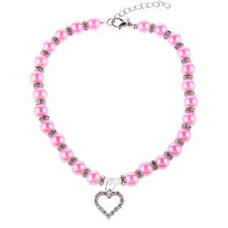 Magideal Pet Dog Cat Pearl Rhinestone Heart Pendant Necklace Collar Necktie Rosy M