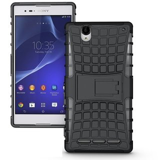 CHL Hybrid Military Grade Armor Kick Stand Back Cover Case for Sony Xperia T2 Ultra - Black