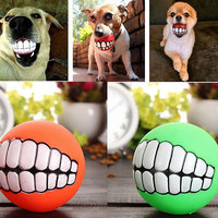 Magideal Funny Vinyl Pet Dog Cat Ball Teeth Ultra-Thick Toy Chew Sound Play Toys