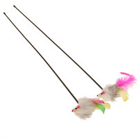 Magideal Colorful Feather Mouse Cat Toy Charmer Wand Pole Teaser Makes Pet Fun