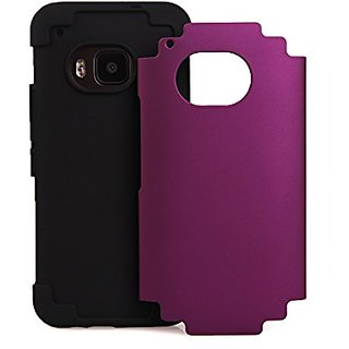 Bear Motion Dual Protection Case Cover For Htc One M9 - Purple