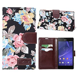 Vintage Black Flower Magnetic Flip Tpu Jacquard Leather Wallet Card Slot Stand Cover Case For Sony Xperia Z3